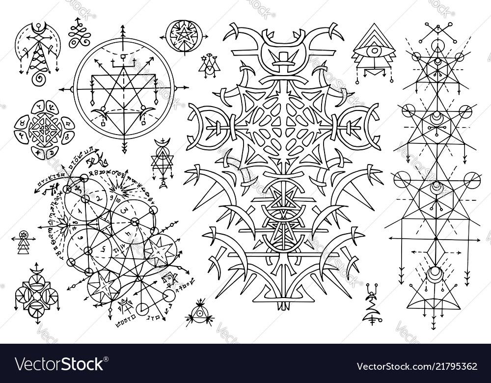Design set with sacred geometry stmbols