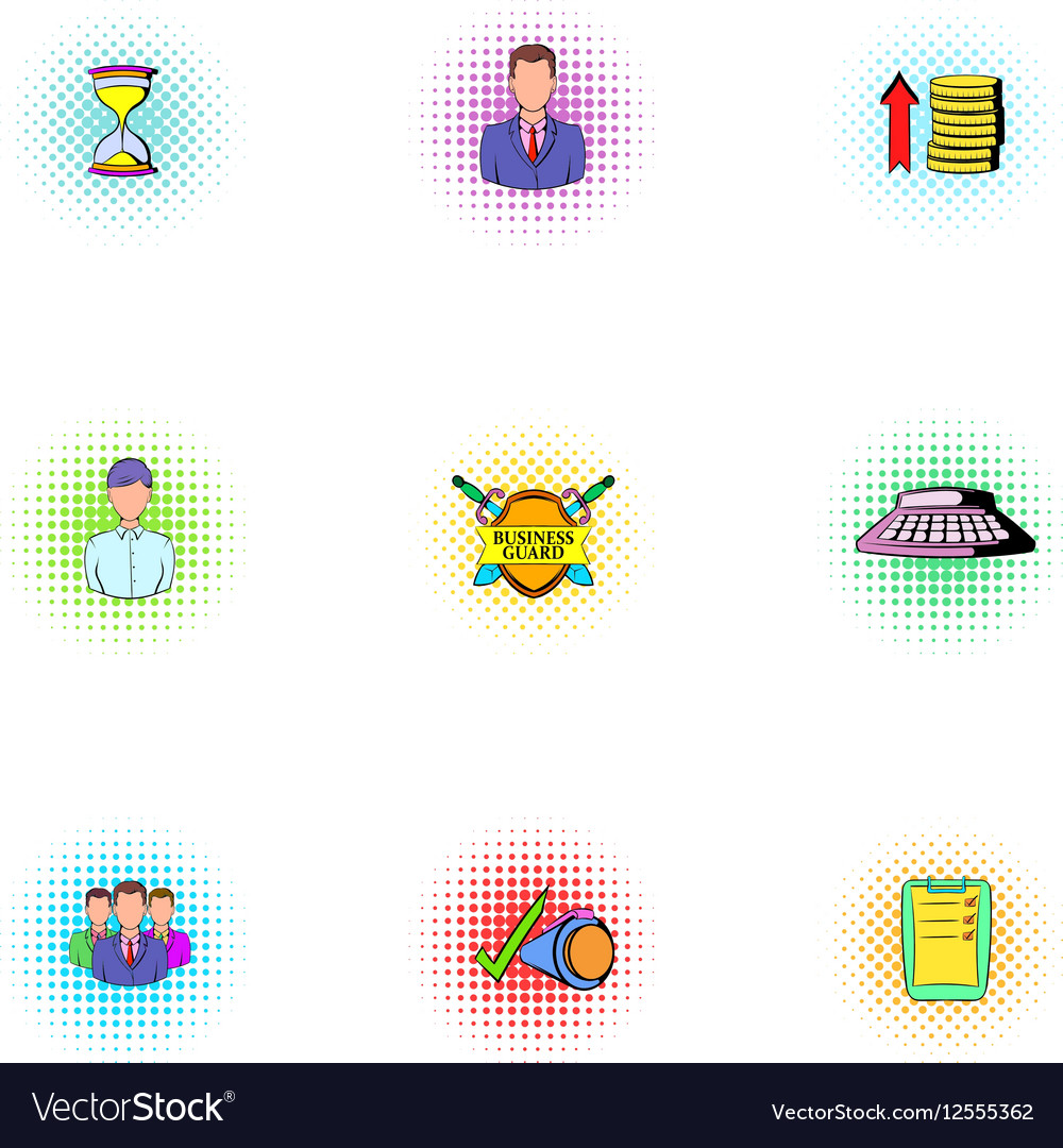 Marketing icons set pop-art style