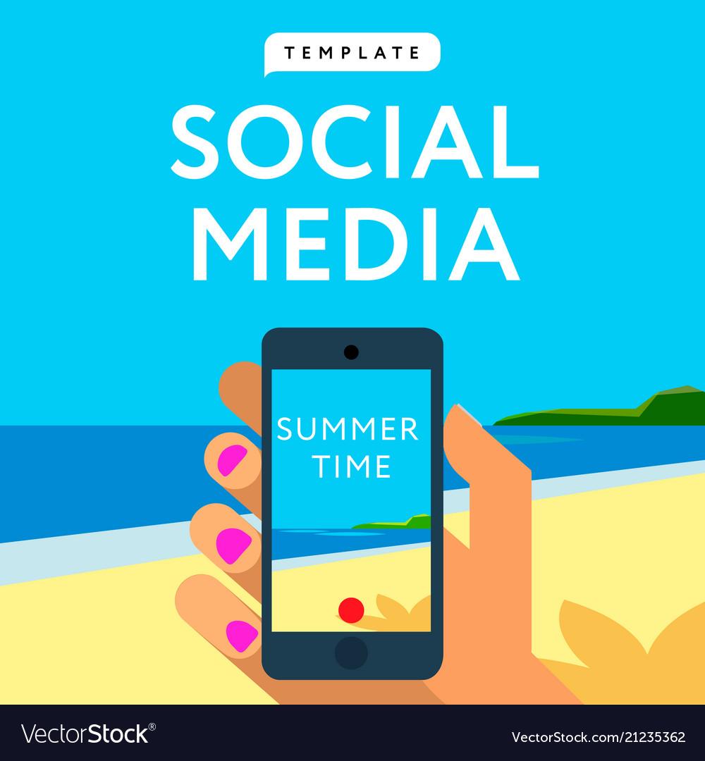 Social Media Template Smart Phone Hands Hold Vector Image - Mediatemplate