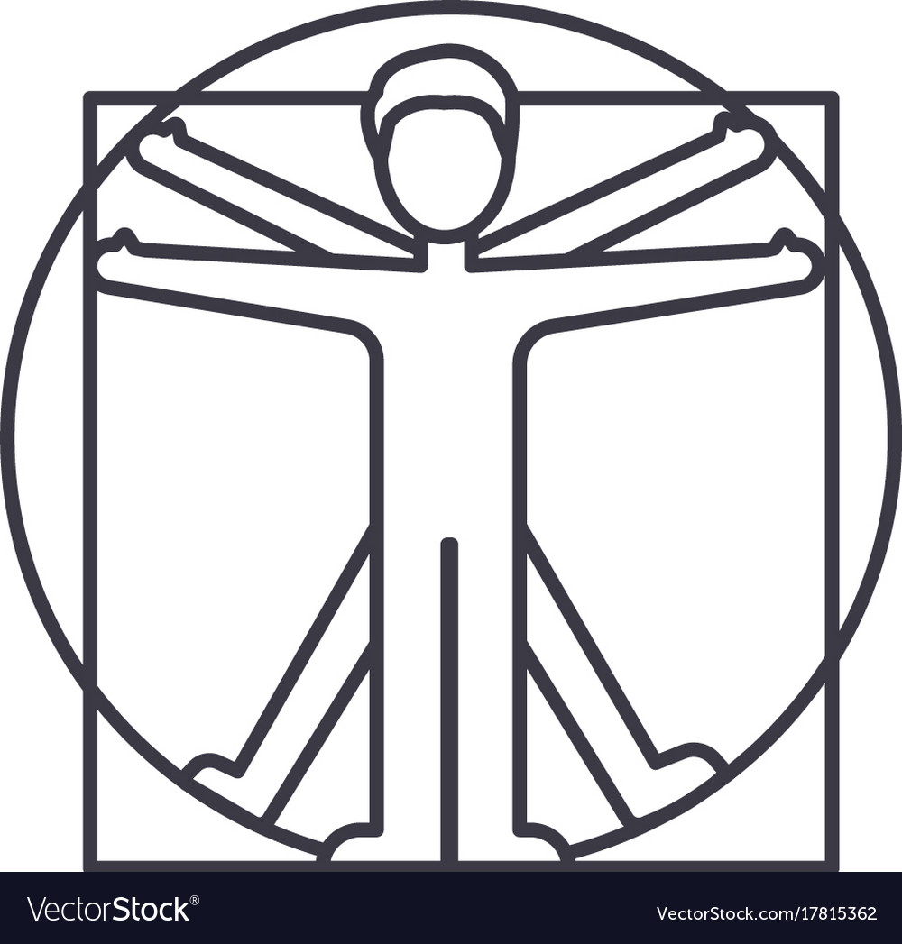 Vitruvian man line icon sign