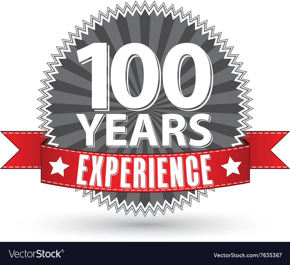 100 years experience retro label with red ribbon vector image