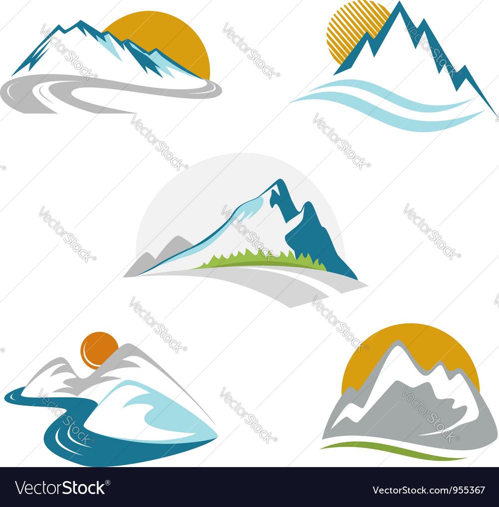 Blue mountains emblem set