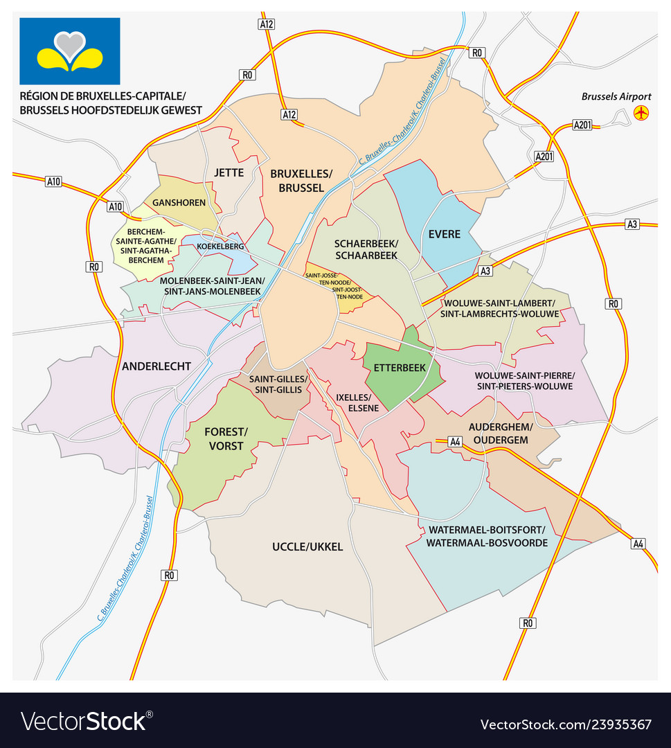 Brussels road administrativeand political map