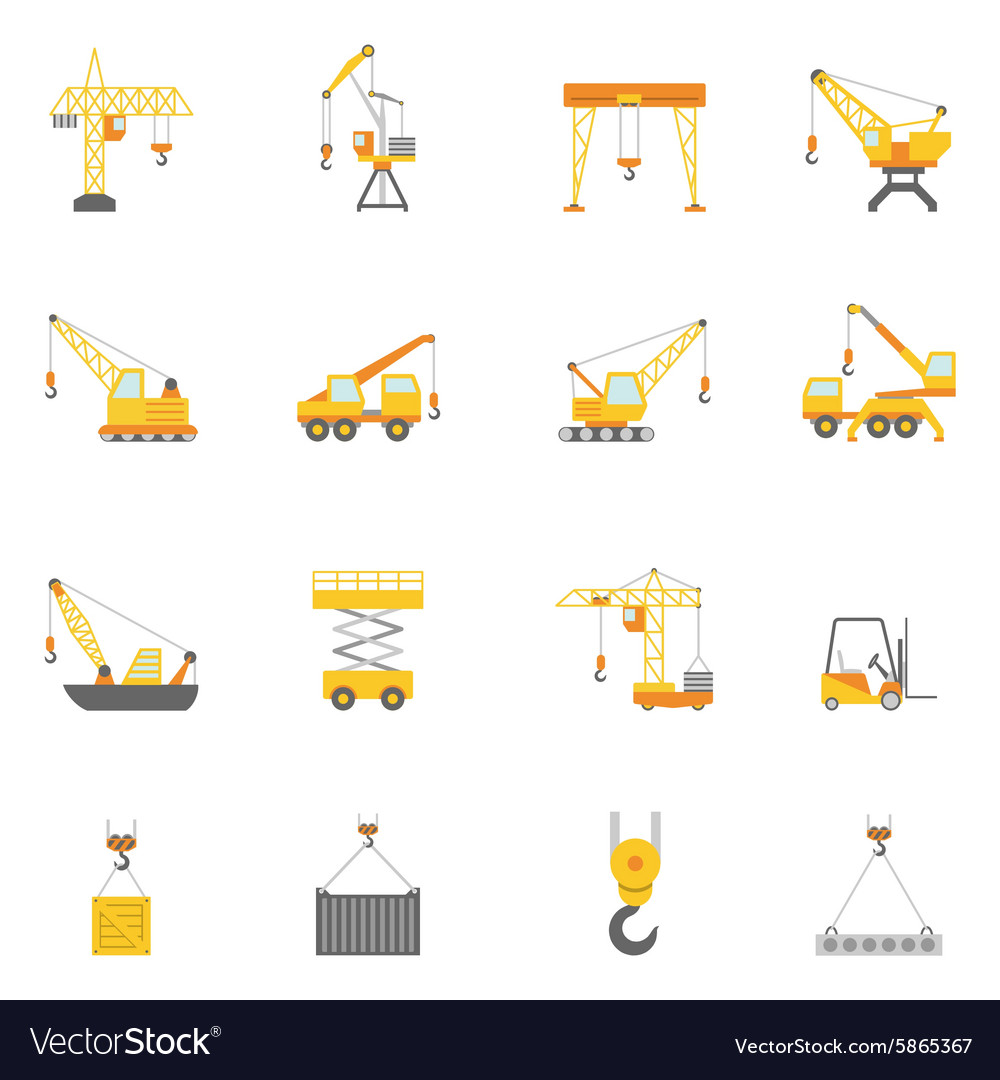 Building construction crane flat icons set vector image