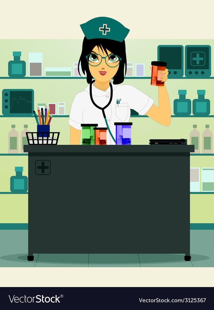 Doctor holding prescription bottle vector image