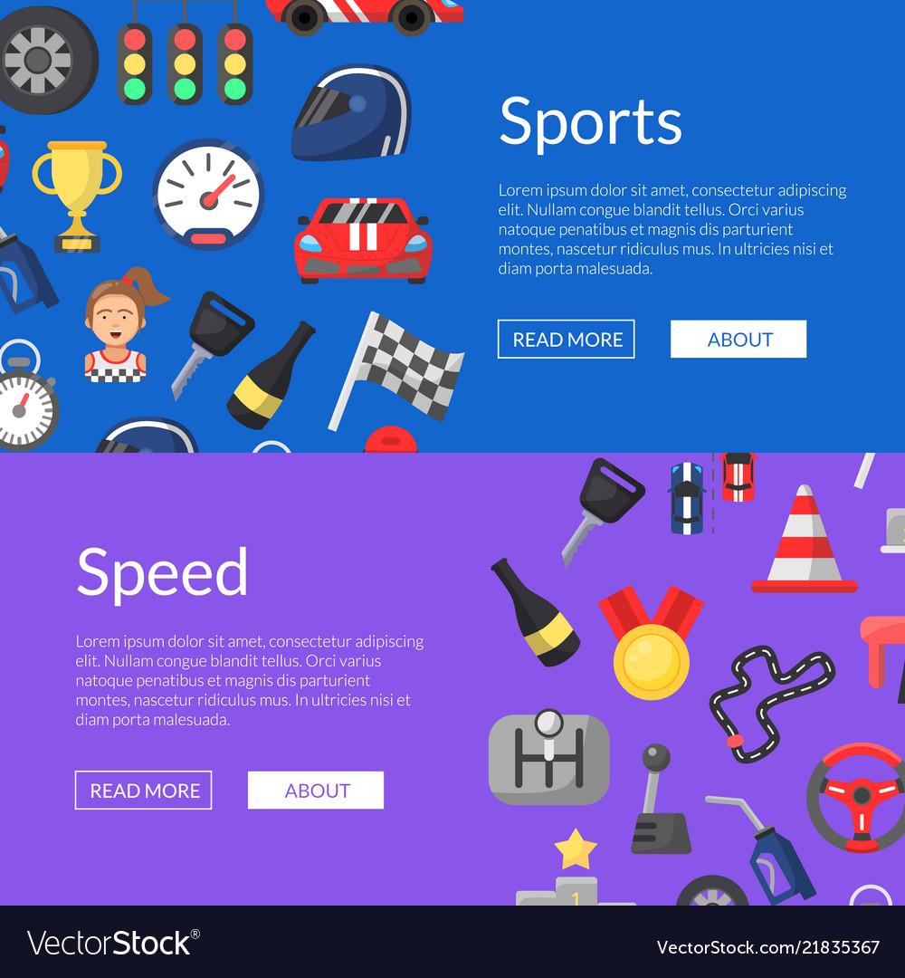 Flat car racing icons web banner