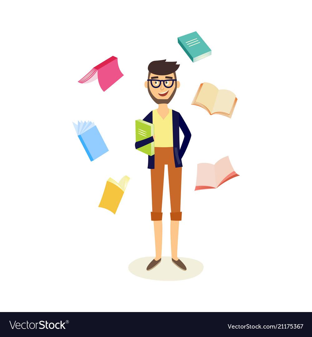 Flat student man with books around