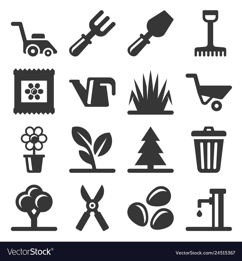 Gardening icons set on white background