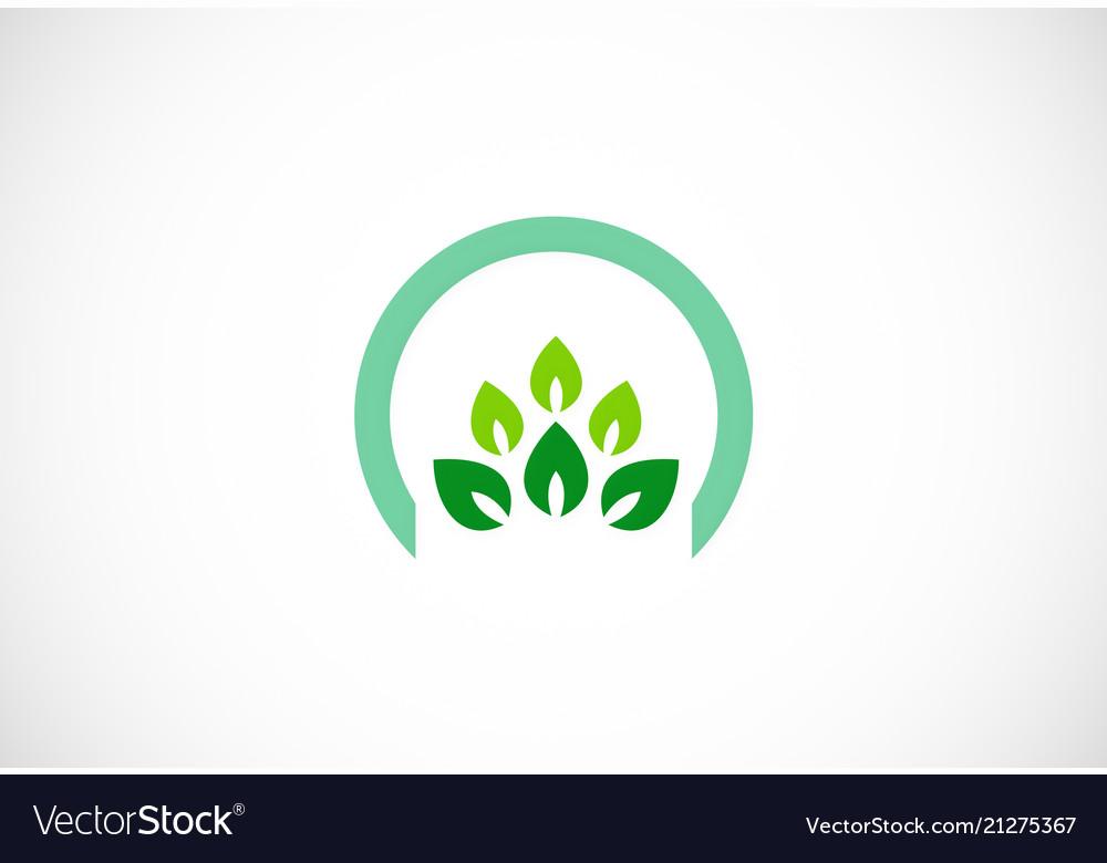 Green leaf organic icon logo