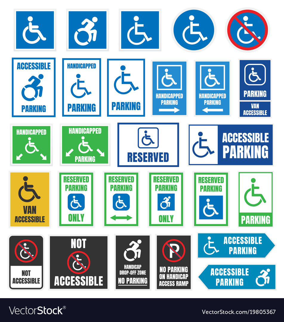 Handicapped parking signs disabled people parking