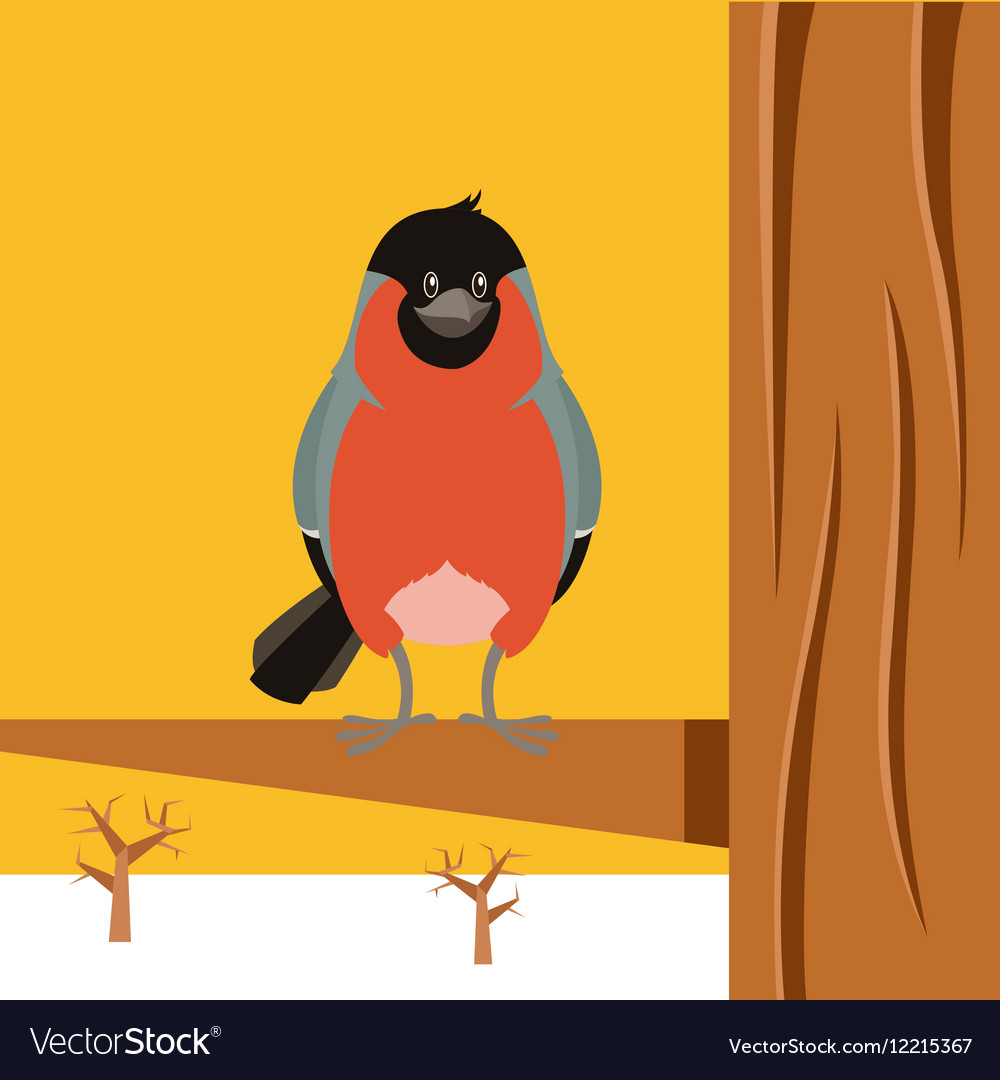 Happy Bullfinch on the Tree winter flat background
