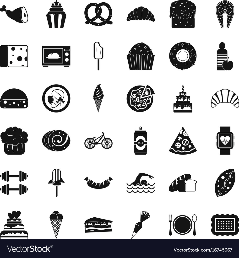 Many calories icons set simple style