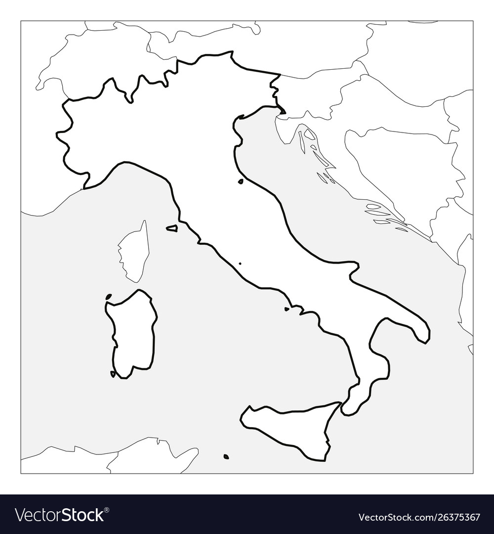 Map Of Italy Black And White.Map Italy Black Thick Outline Highlighted With