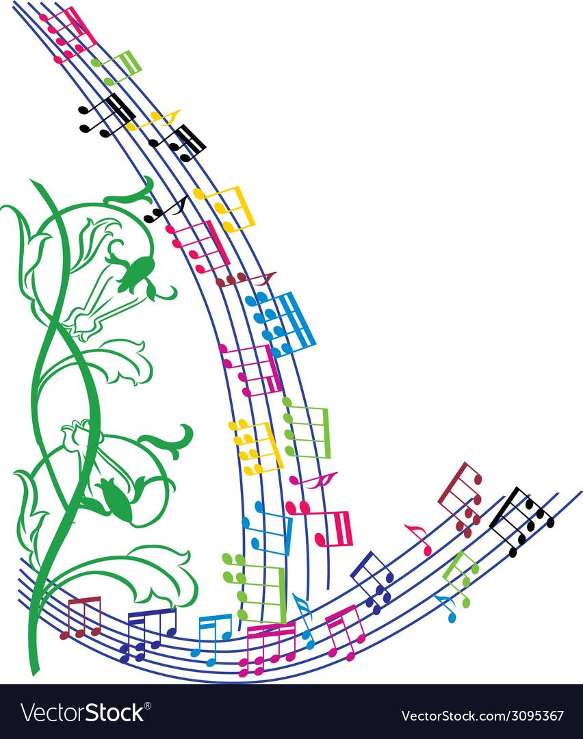 Music notes background stylish musical theme frame