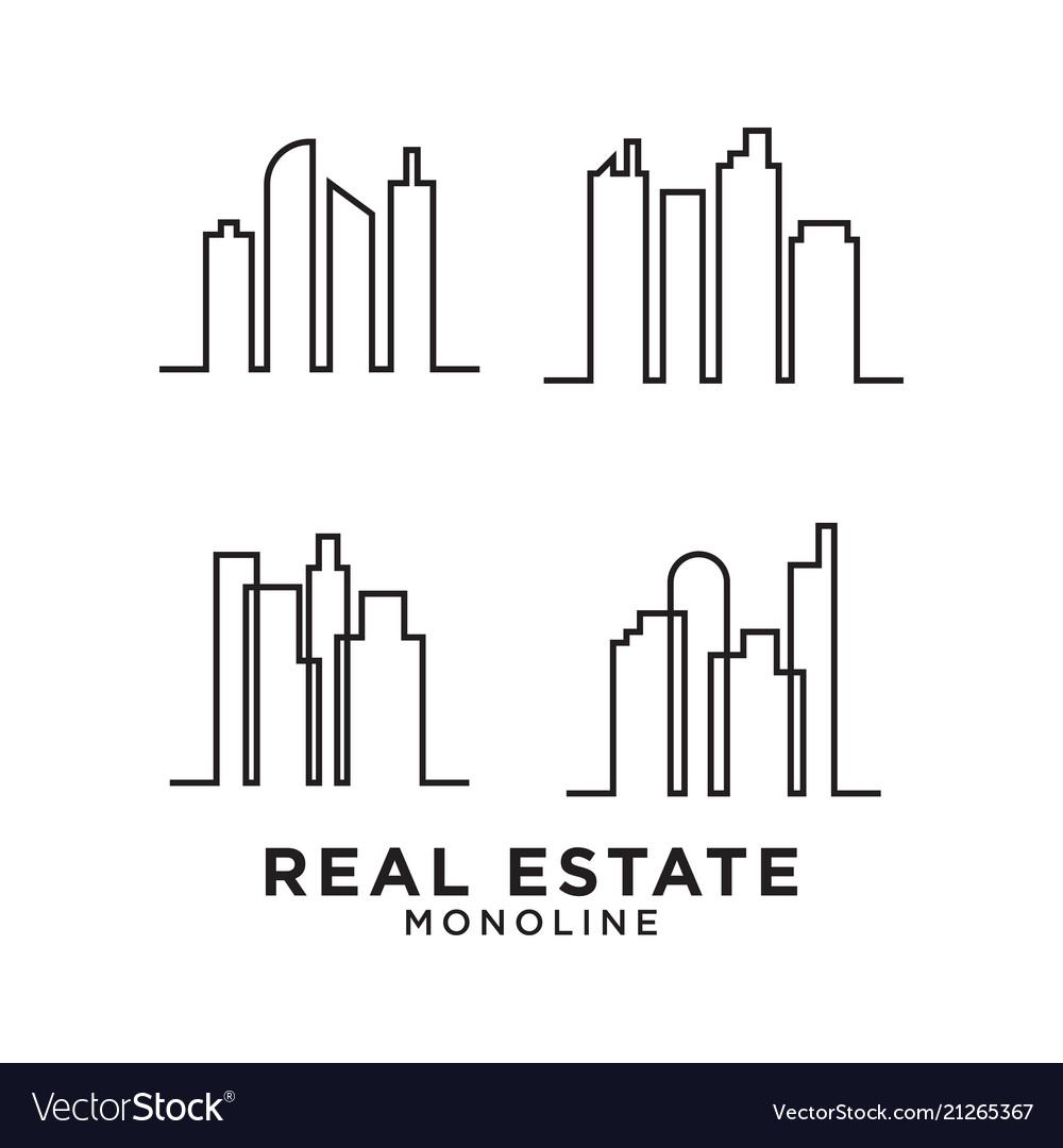 Real estate skyscraper mono line logo design