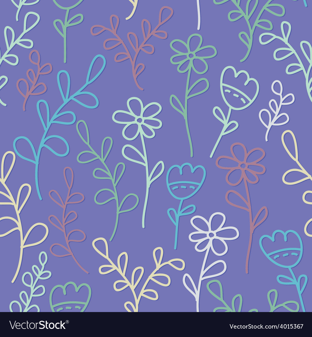 Seamless pattern with flowers and branches Lilac