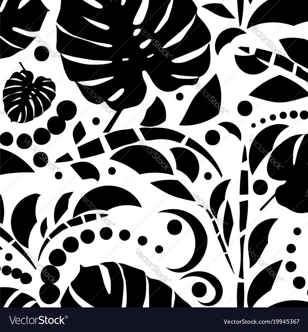 Tropical leaves seamless pattern monstera leaves