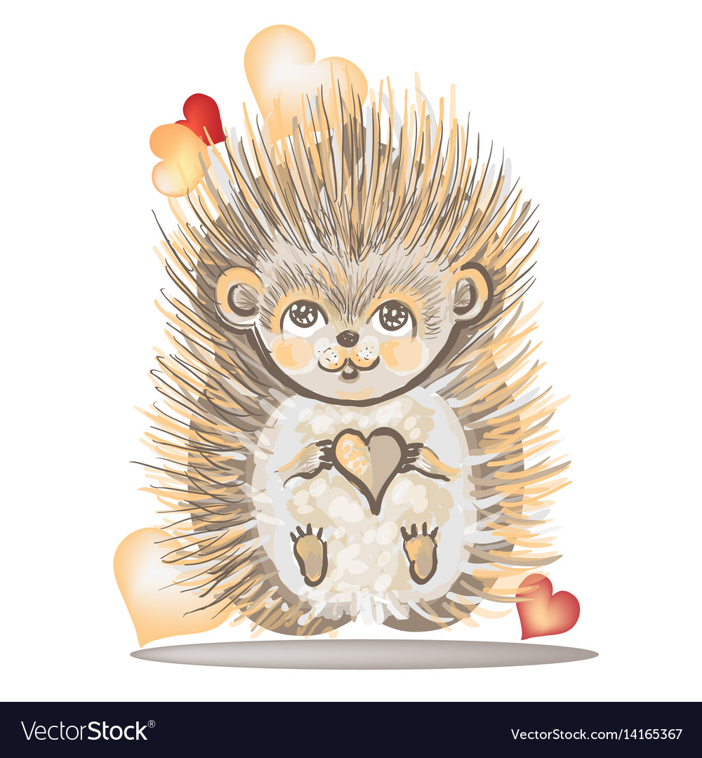 Valentines day card with a hedgehog