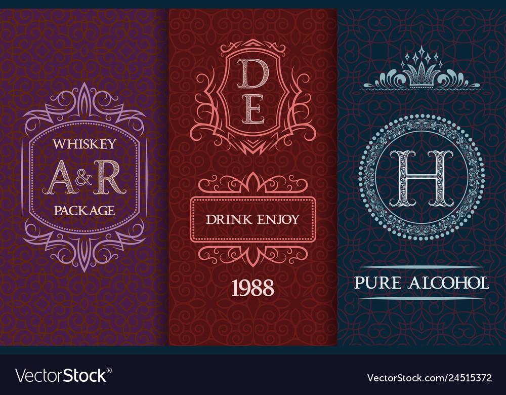 Beverage packaging design set of booze bottles