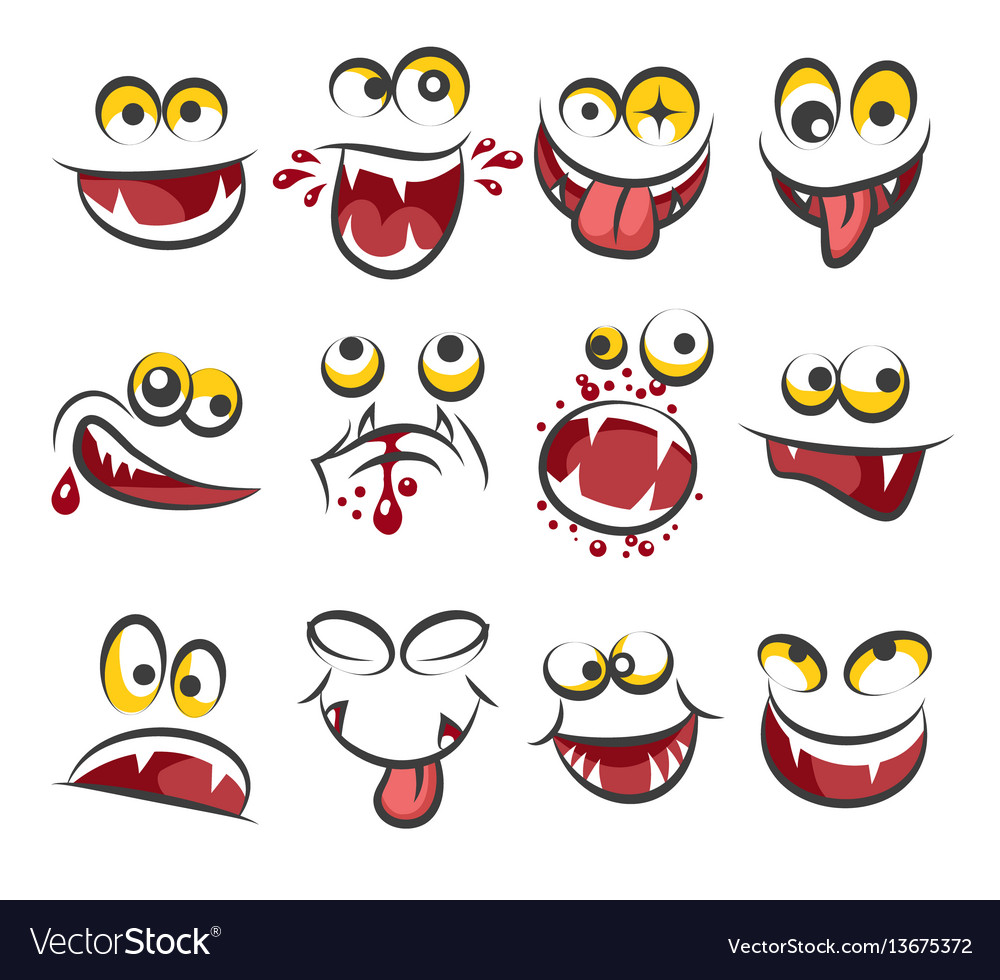 Cartoon faces emotions isolated on white
