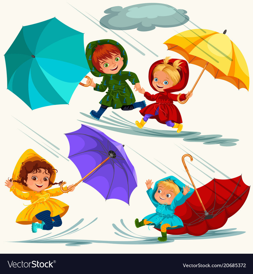 Children walking under raining sky with an