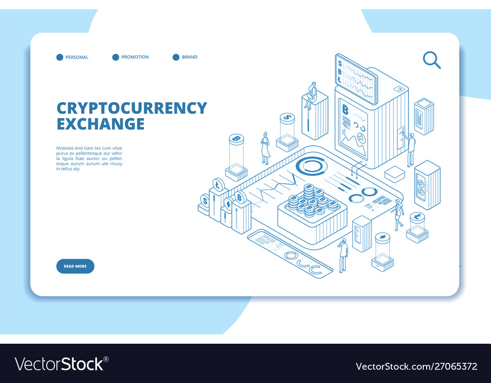 Cryptocurrency exchange isometric concept modern