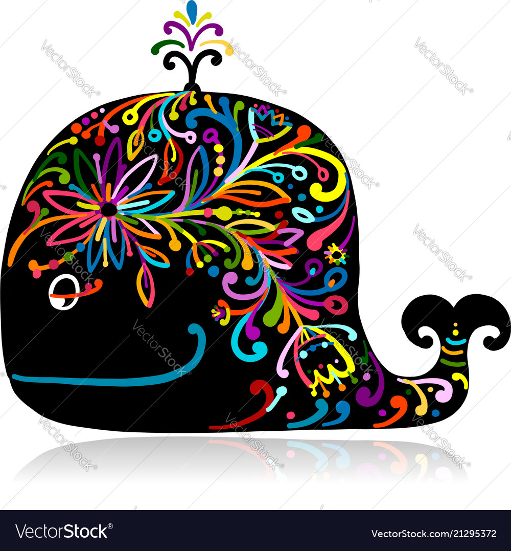 Floral whale sketch for your design vector image