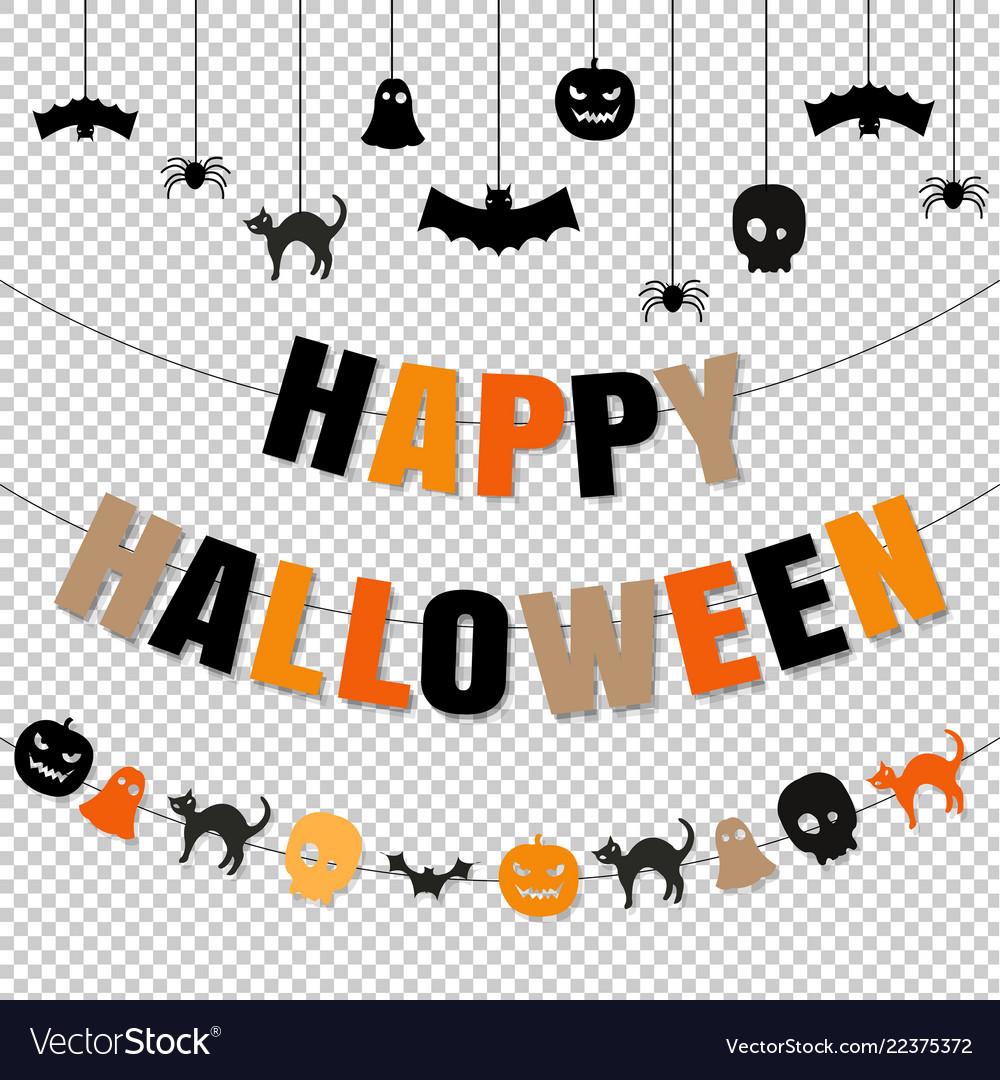 Happy halloween set transparent background