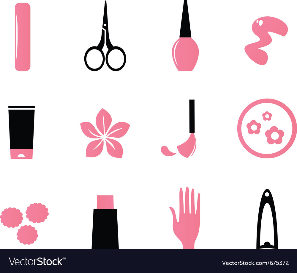 Manicure cosmetics and beauty icons - pink