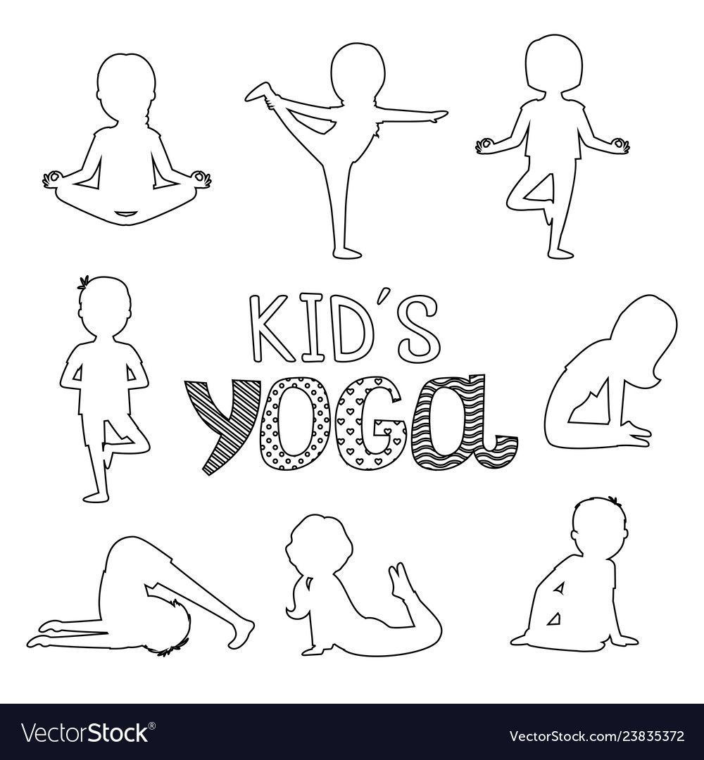 Outline kids yoga poses isolated on white