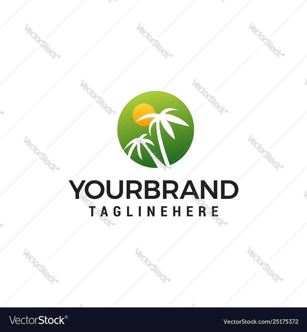 Palm tree and sun logo design concept template