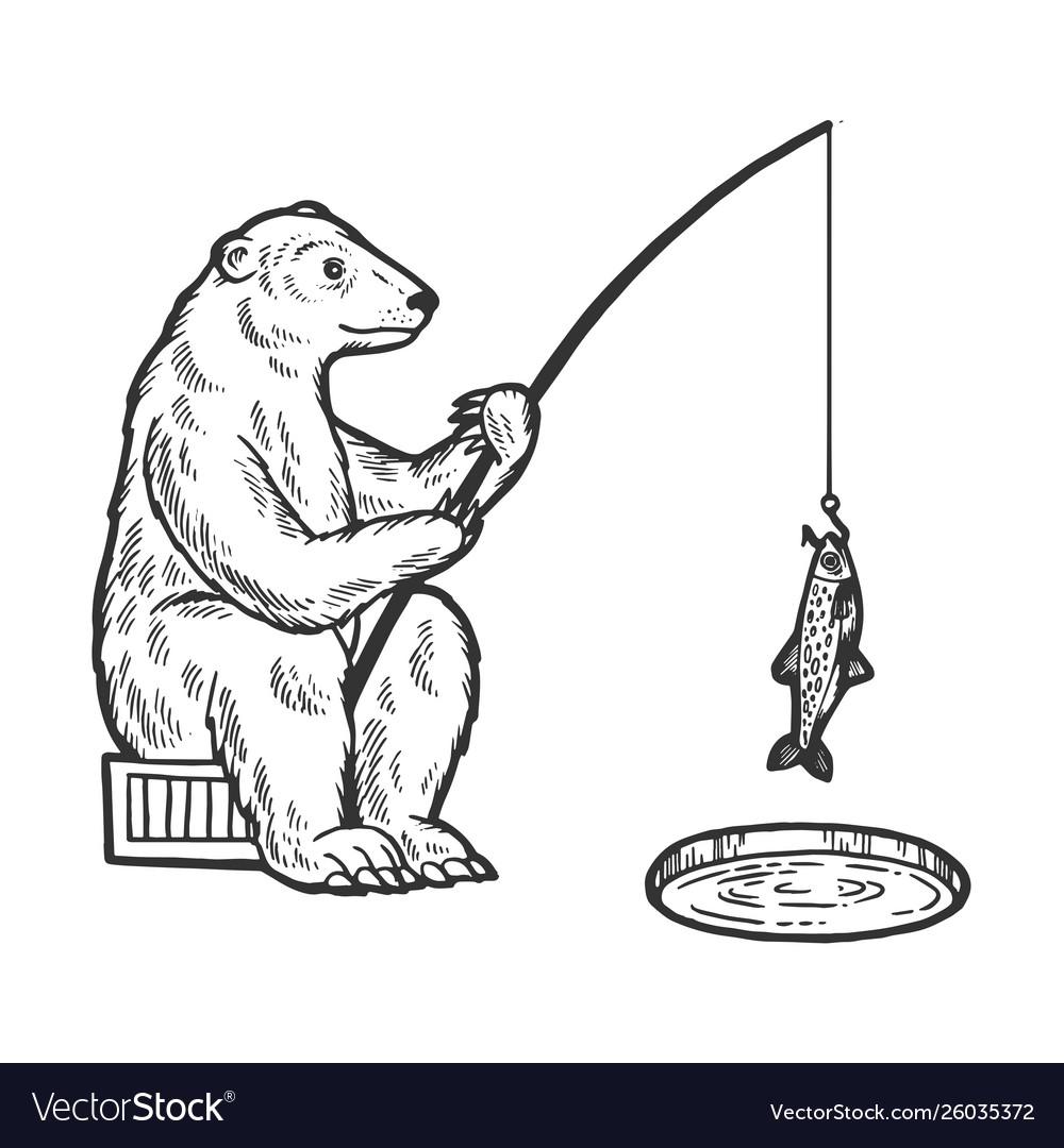 Polar bear fishing sketch engraving