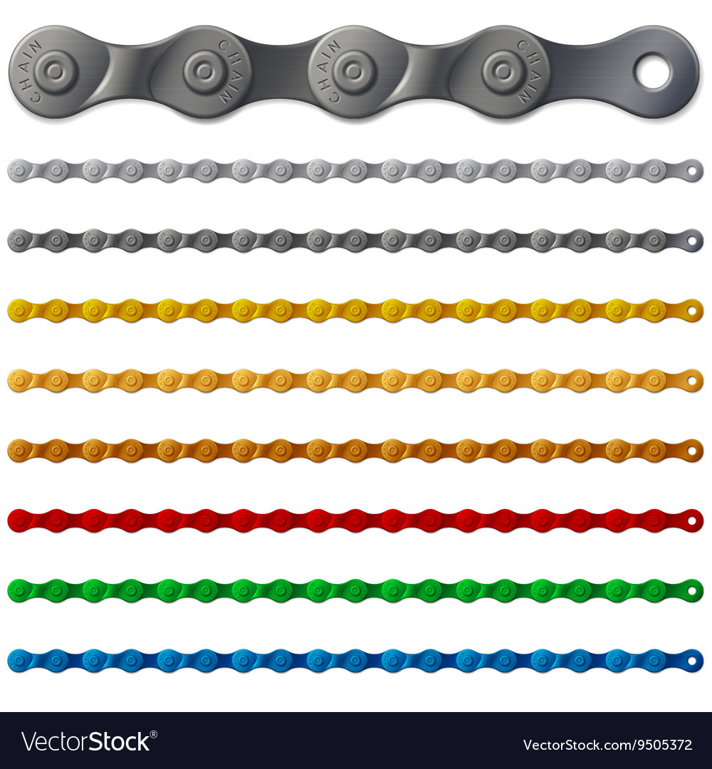 Set of colorful metal bicycle chain isolated on