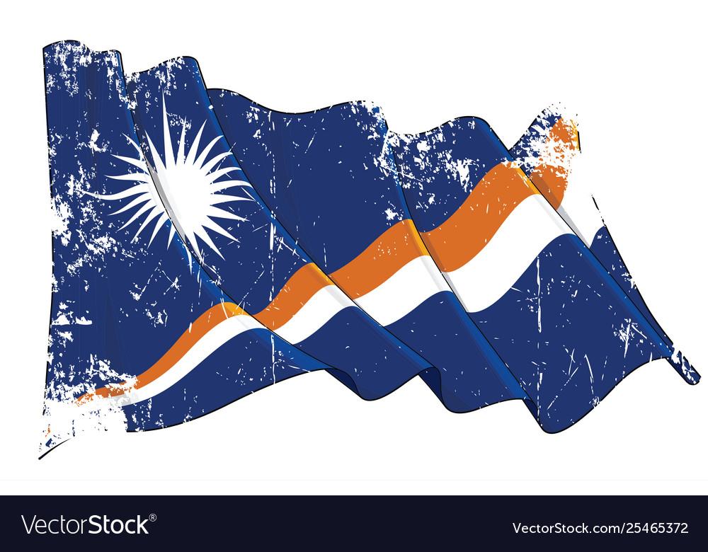 Textured grunge waving flag marshall islands