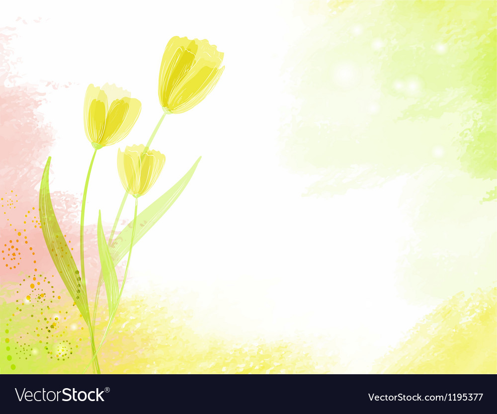 Abstract watercolour background with tulips vector image