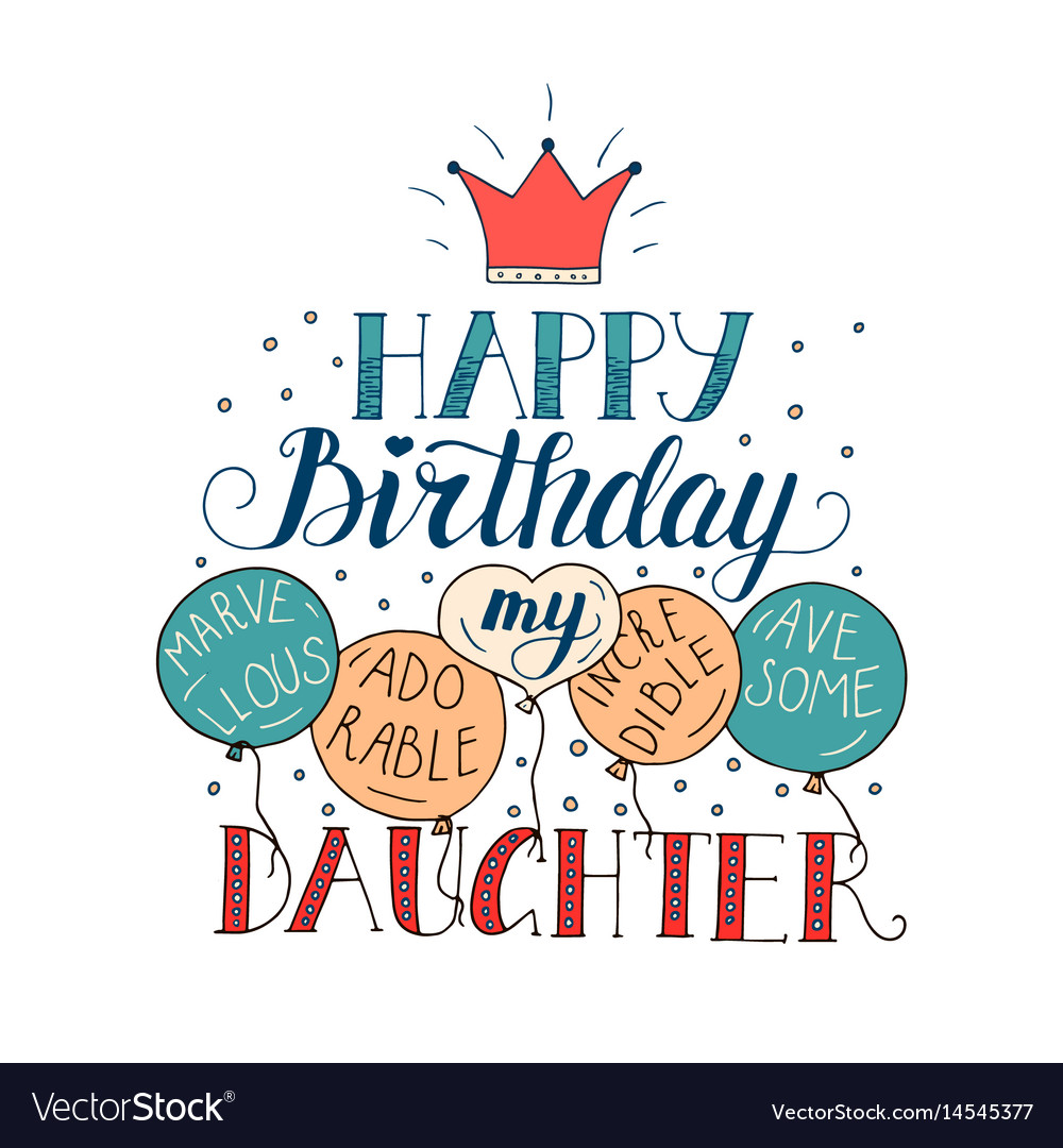 Birthday Card For Daughter Royalty Free Vector Image