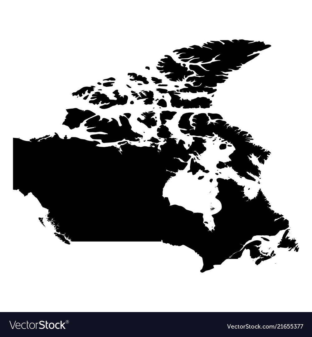 Canada Map Solid Canada   solid black silhouette map country Vector Image