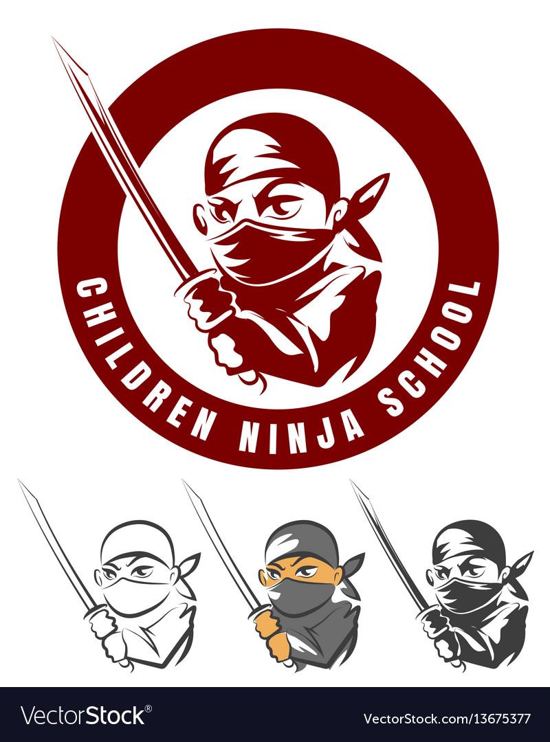 Children ninja school cartoon emblem