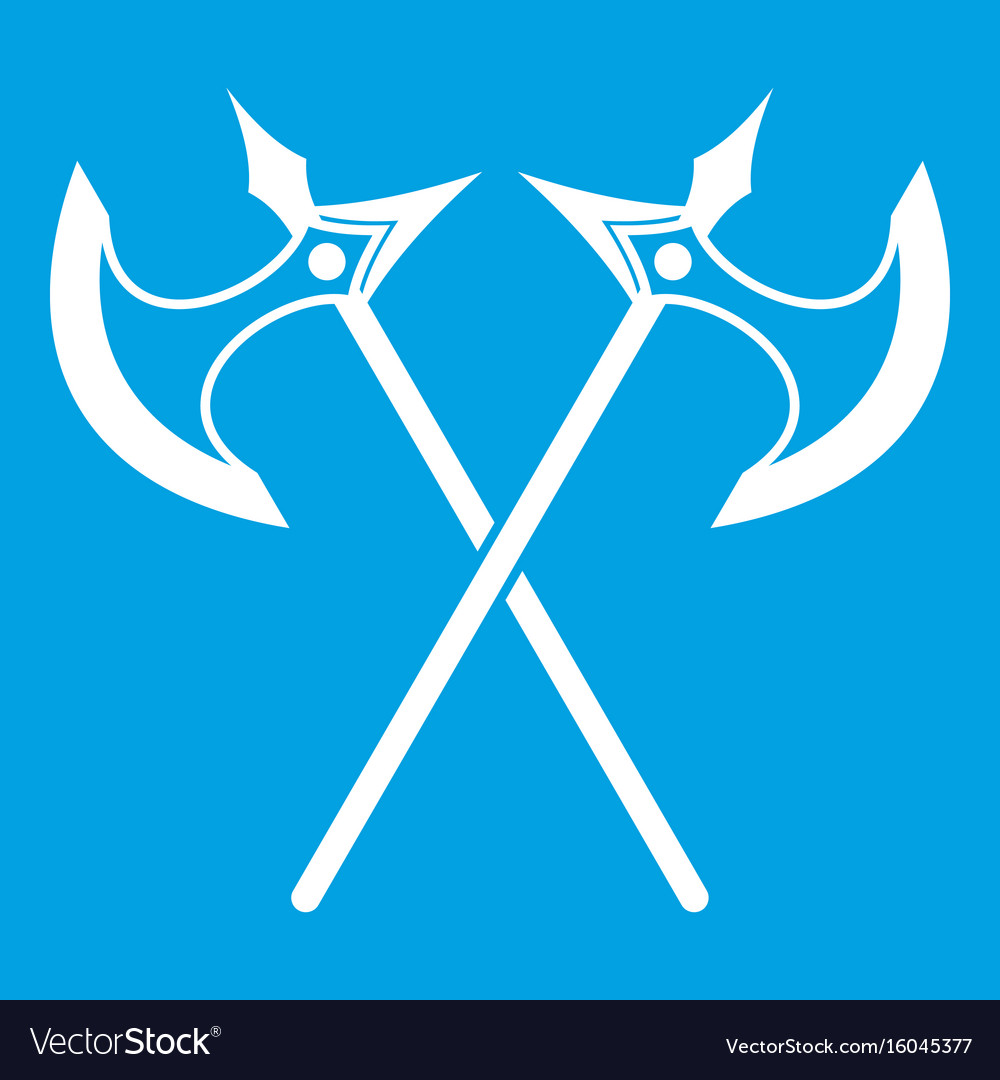 Crossed battle axes icon white vector image