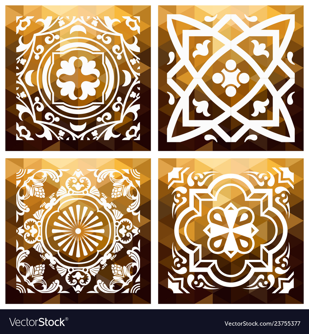 Floral gold mosaic tile vintage triangle