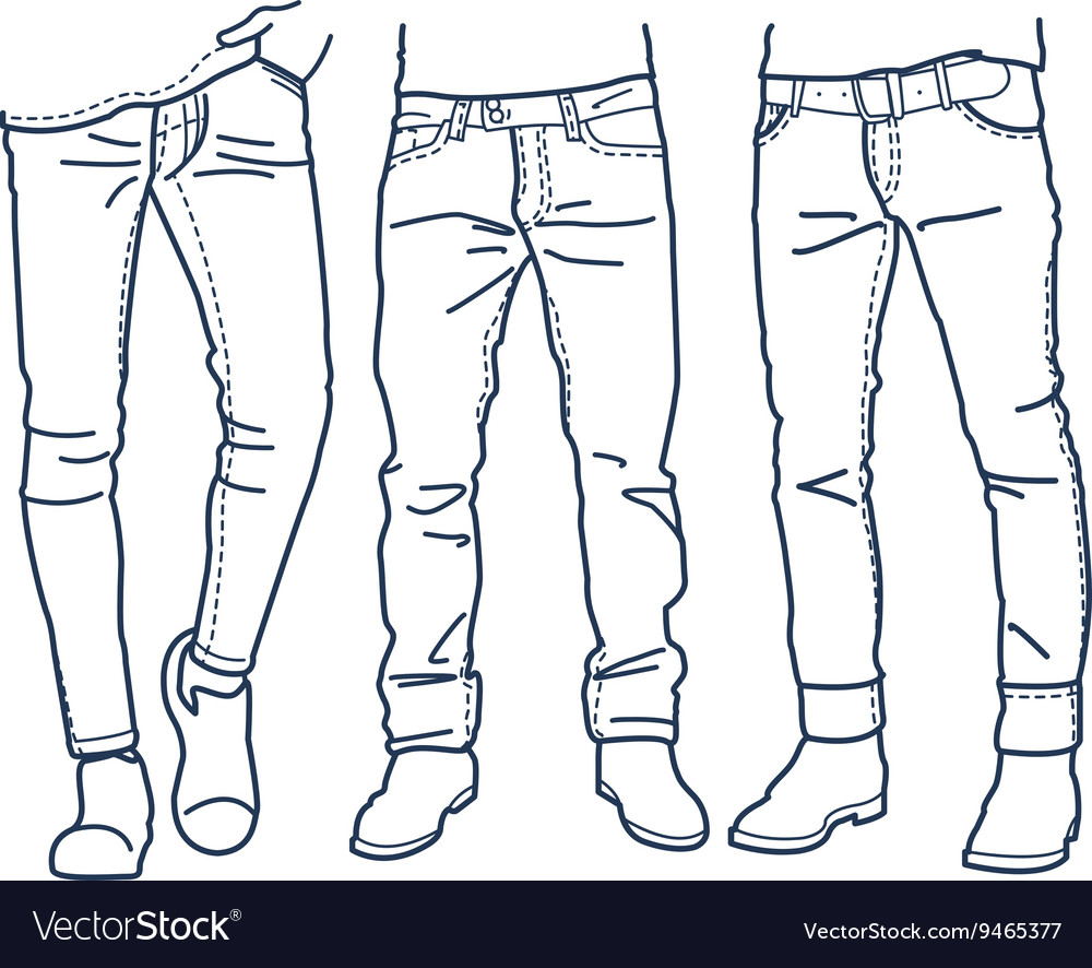 Hand drawn fashion Collection of mens jeans