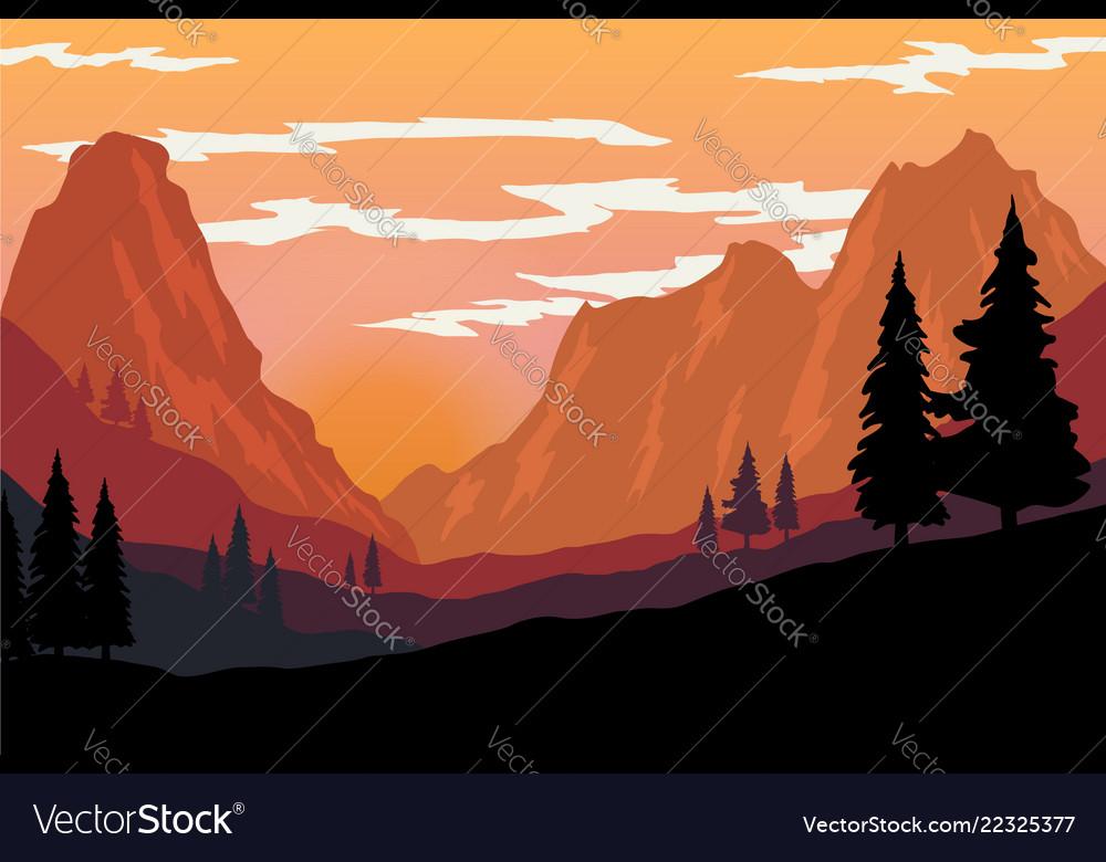 Mountain landscape in flat style design element