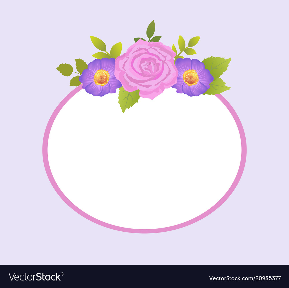 Rose and purple daisy flowers photo frame greeting rose and purple daisy flowers photo frame greeting vector image izmirmasajfo