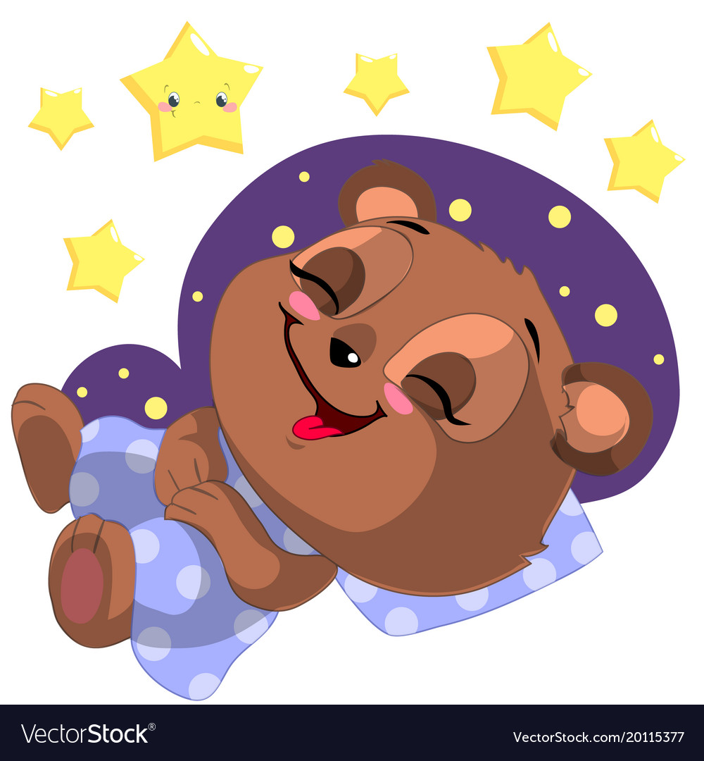 Bear sleeping. Cartoon clipart with moon
