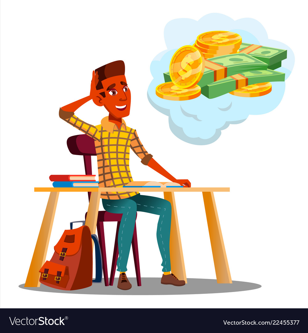 Student sitting at table with books and thinking