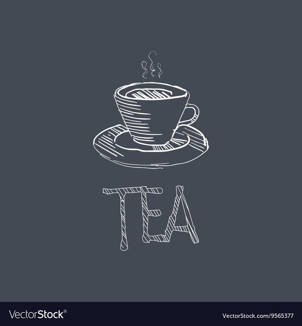 Tea Sketch Style Chalk On Blackboard Menu Item