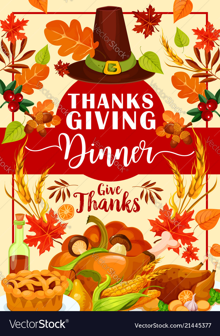 Thanksgiving dinner invitation with festive food