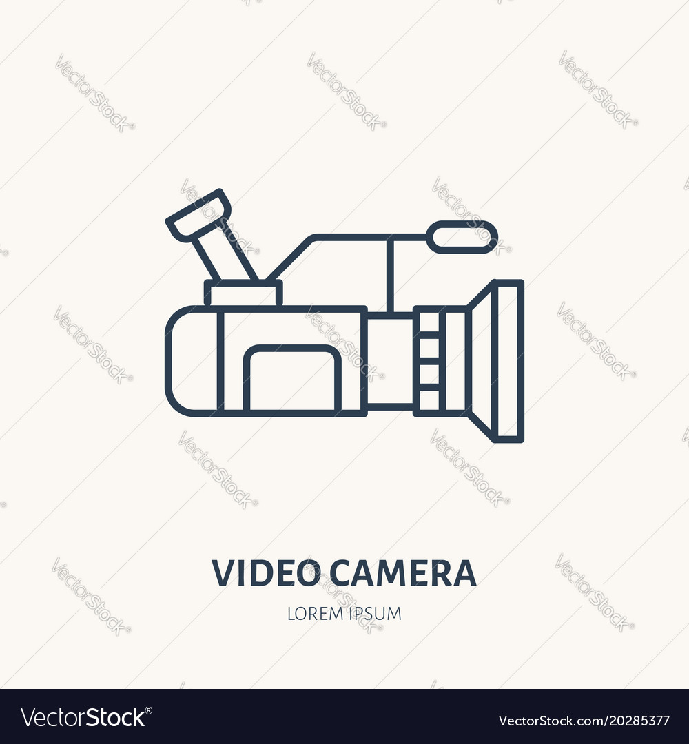 Video camera flat line icon movie production