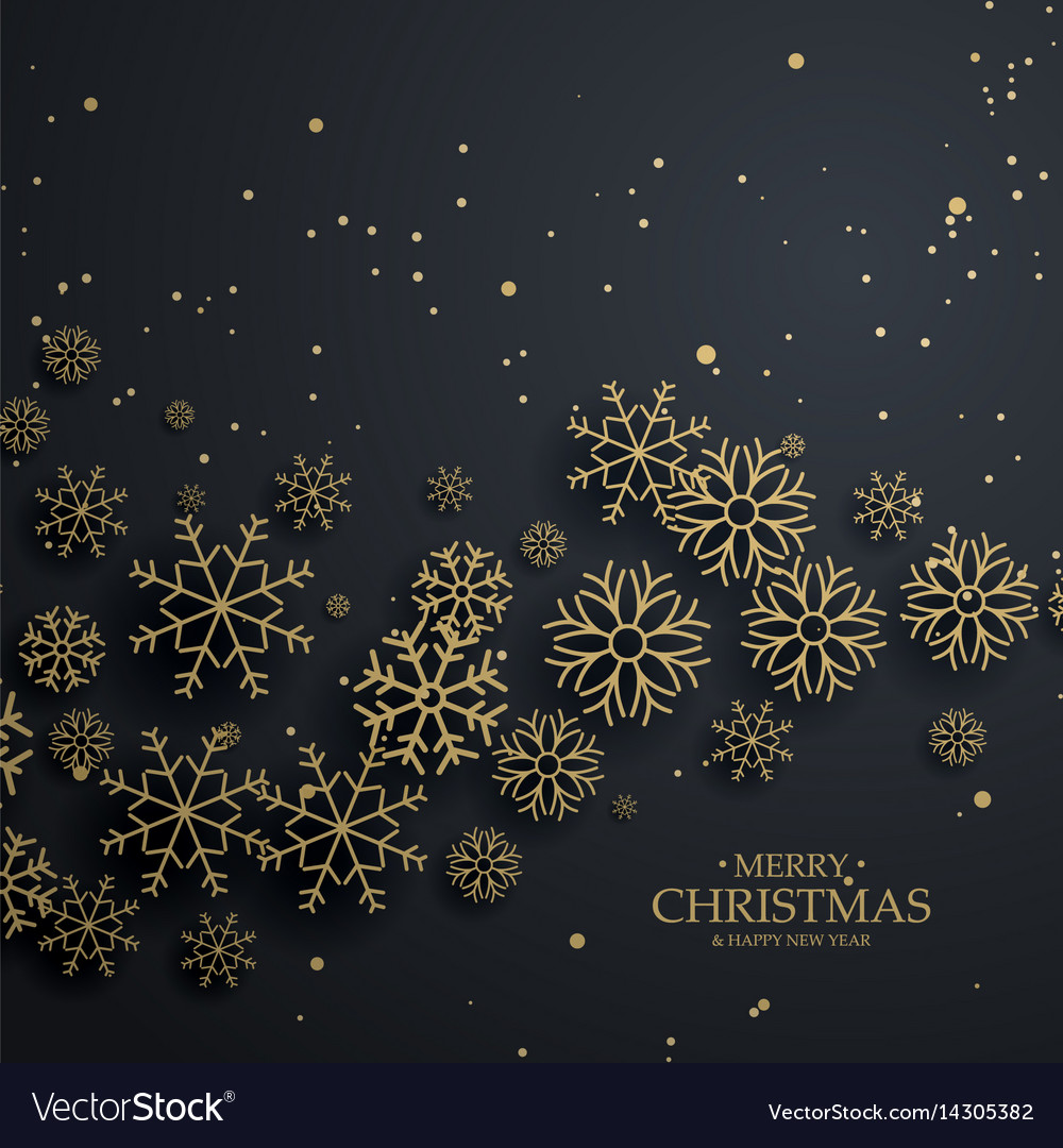 Awesome black background with gold snowflakes for