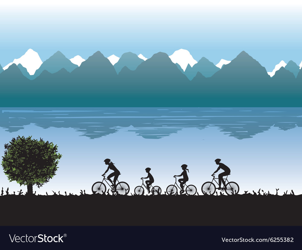Black silhouettes of family on bicycles vector image